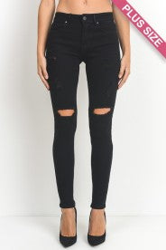 Plus size Distressed Black Skinny Jean