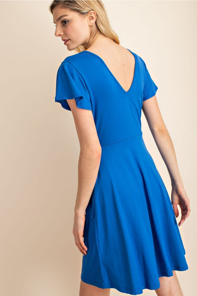 Faux wrap short sleeve fit and flare dress