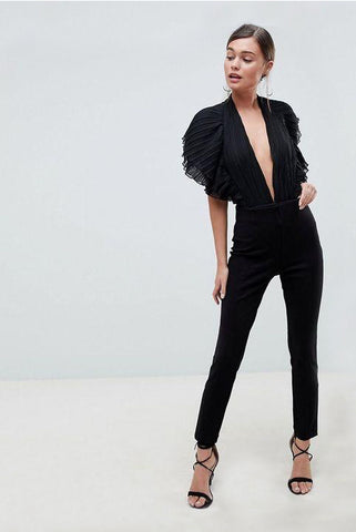 Black Plunge Bodysuit with Ruffle