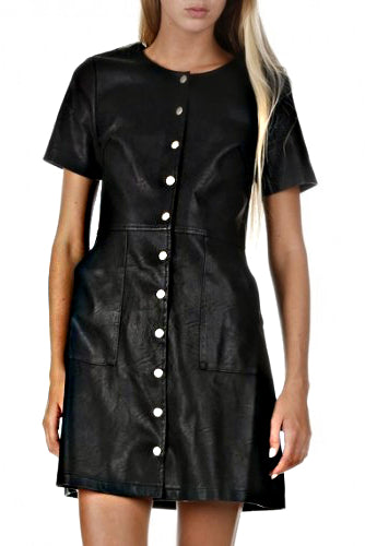Black Leather Dress w/Snaps - DI