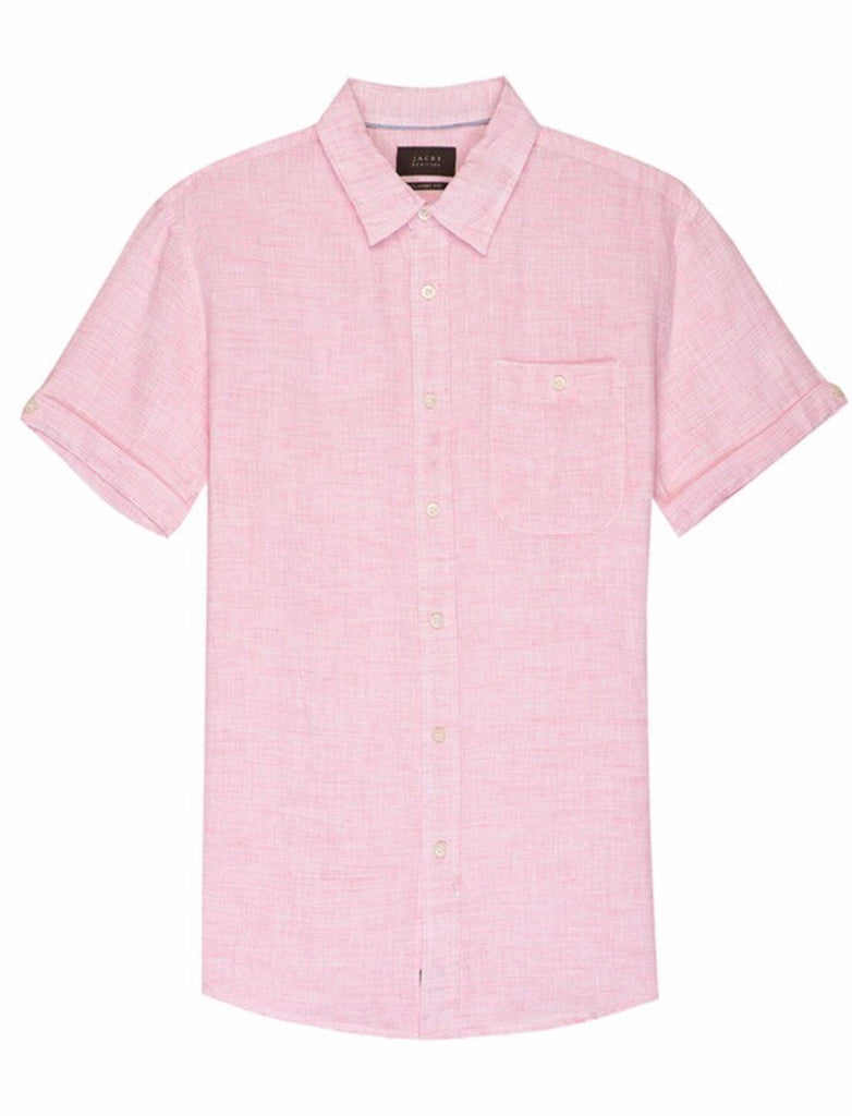 Pink Striped Linen Short Sleeve Shirt