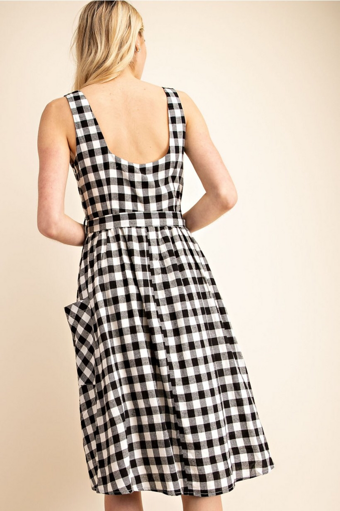 Gingham Fit and Flare Belted Dress