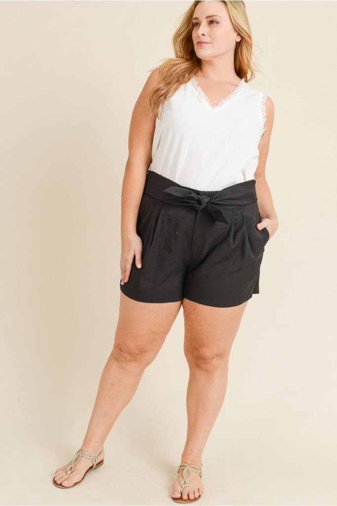 Shorts with Waist Tie and Pockets
