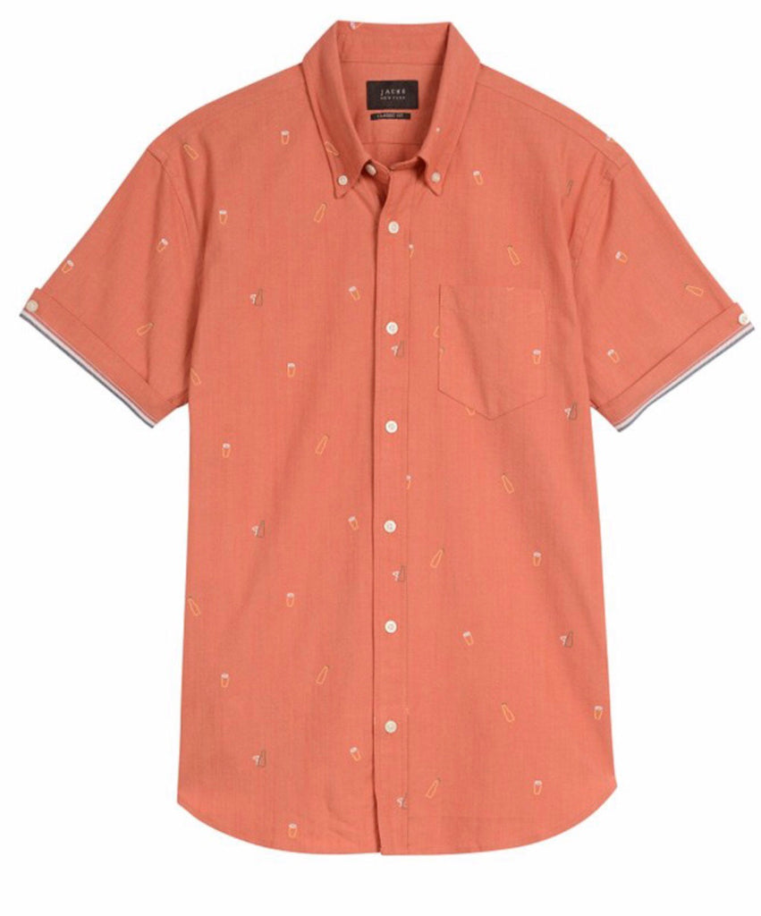 Beer Print Stretch Chambray Short Sleeve Shirt