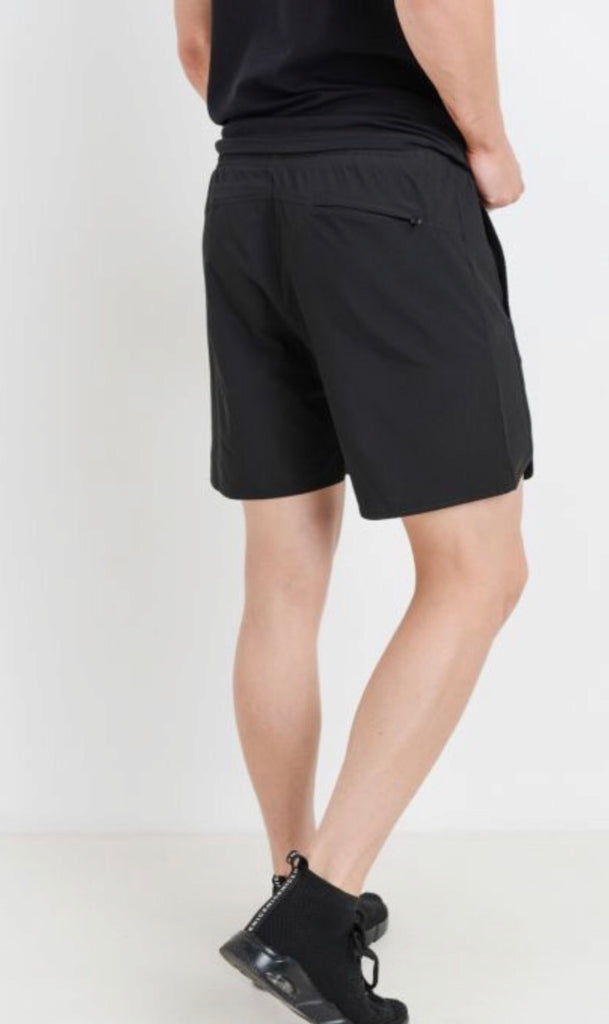 Men's Black Wave Accent Active Shorts