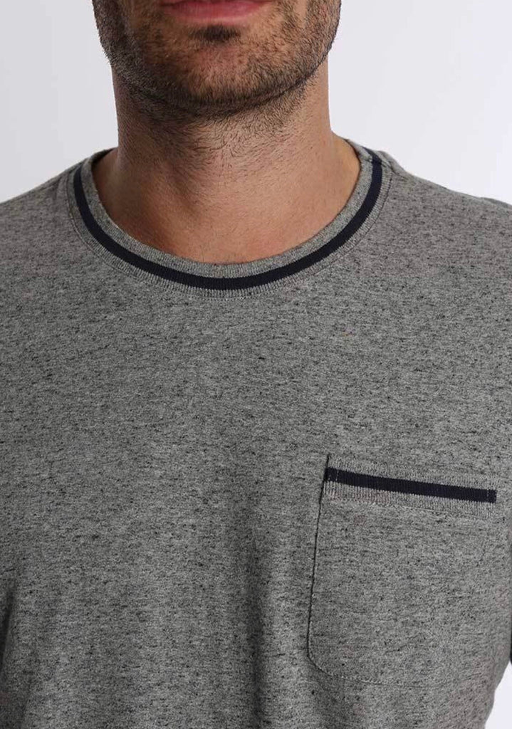 Grey Cotton Linen Ringer Tee