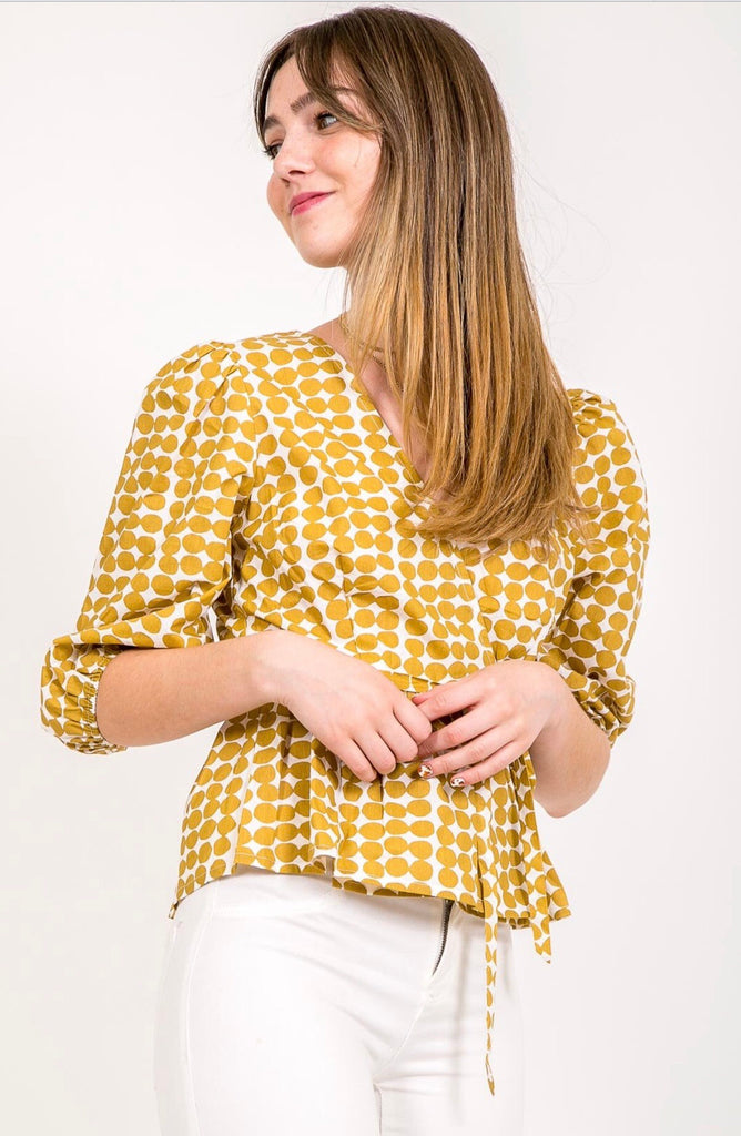 Balloon Sleeved Tie Front Blouse