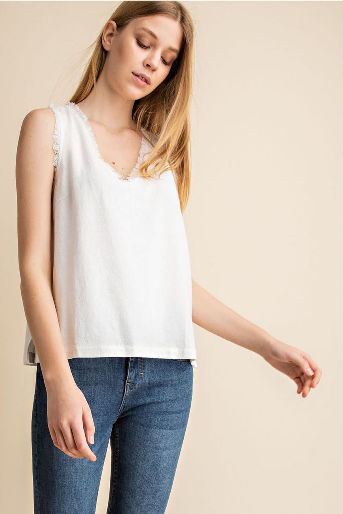 Sleeveless V Neck Top with Fray Detailing