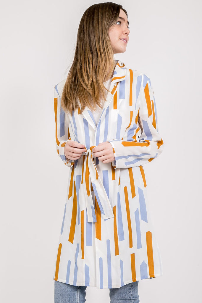 Vintage Geometric Pattern Trench Wrap