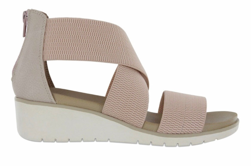 Casandraa Blush Cross Strap Wedge Sandal