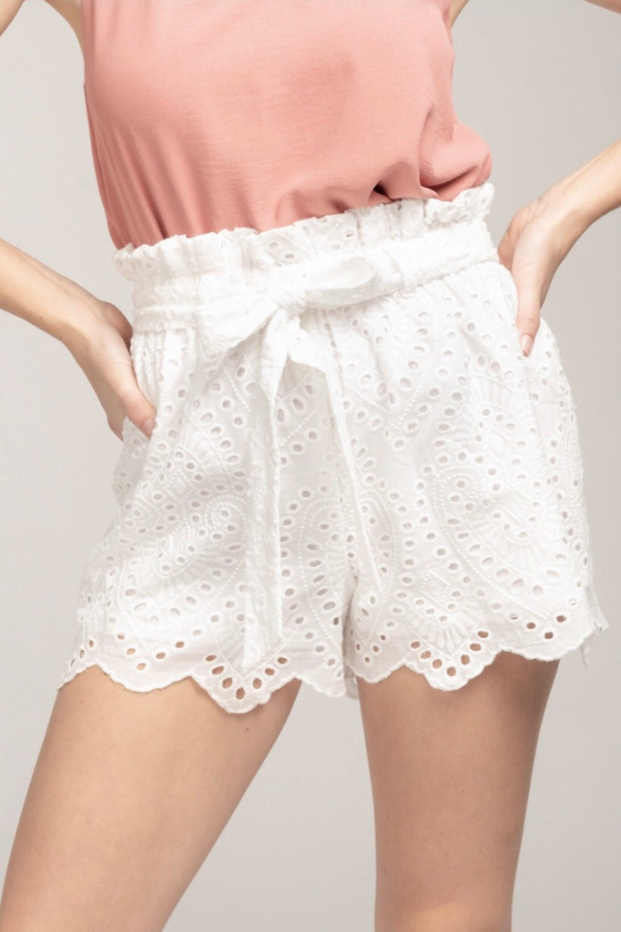Eyelet Shorts with Belt