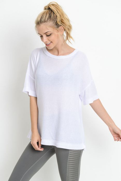 Overlay Back Mid-Sleeve Tunic Top