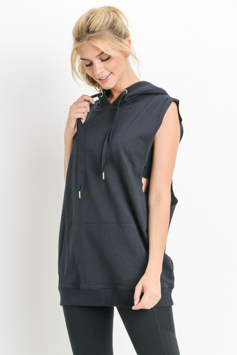 Hooded Longline Cuffed Muscle Top