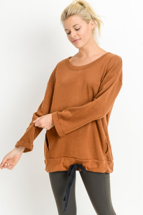 Loose Sleeves Ribbon Accent Fleece Sweatshirt in Coco