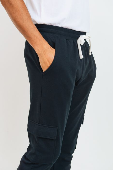 Cotton Black Terry Blend Cargo Jog