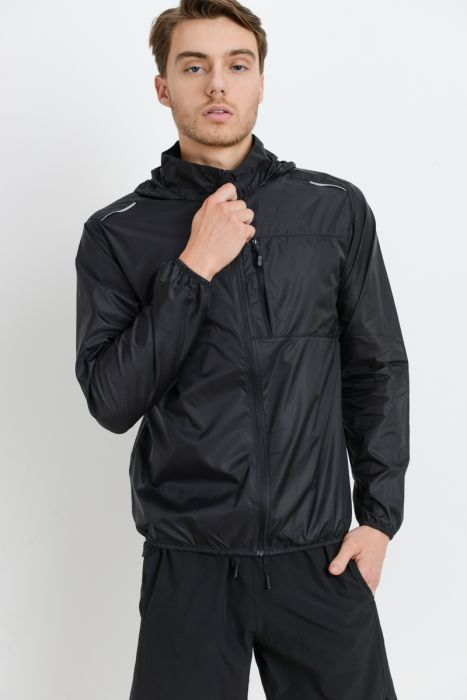 Heart Pocket Nylon Hoodie Jacket in Black