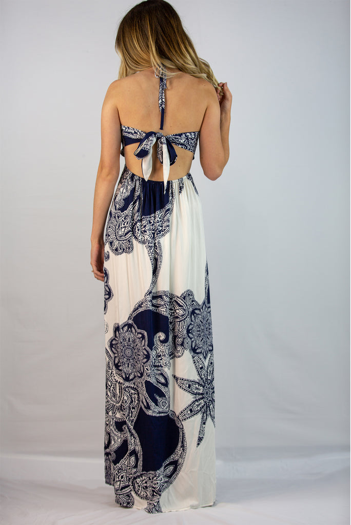 Navy Mix Maxi Dress