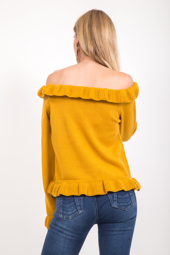 Off the Shoulder Top w/Ruffles - Mustard