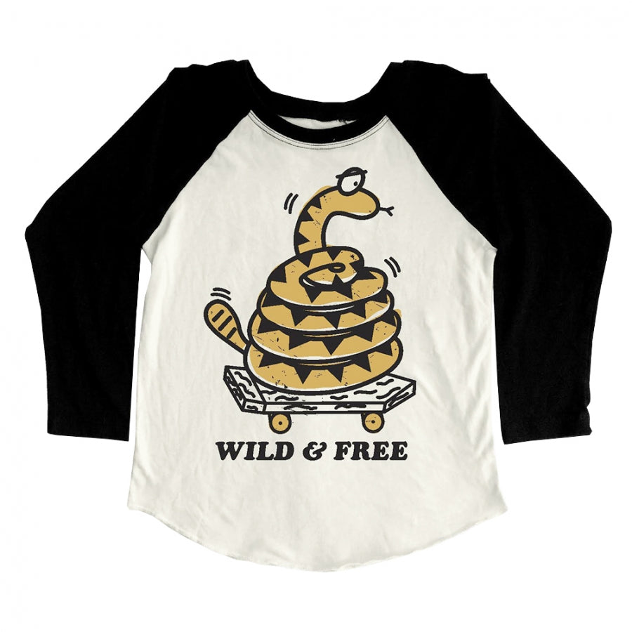 """Wild and Free"" Kid's Raglan - DI"