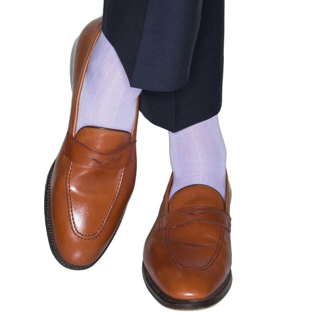 Solid Ribbed Cotton Sock