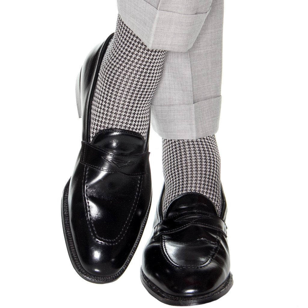 Black and Ash Houndstooth Cotton Sock