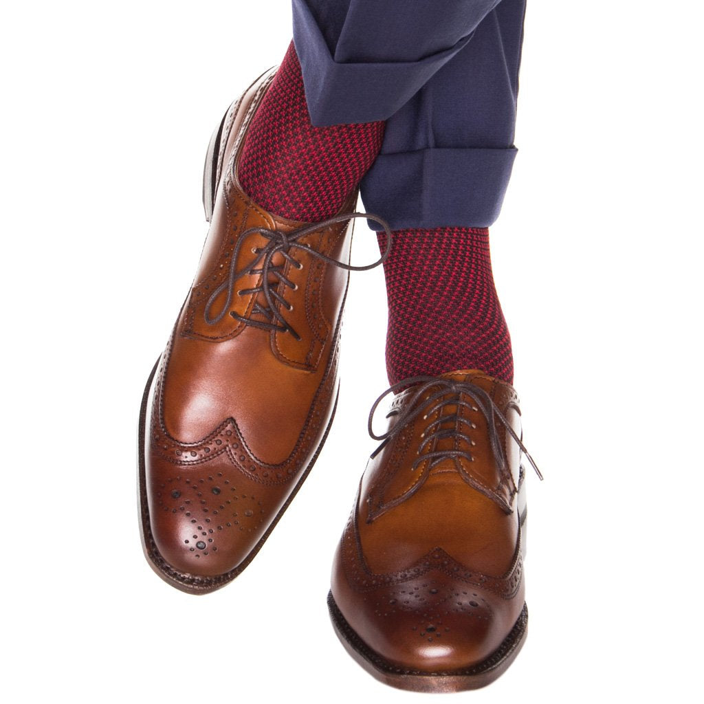 Navy with Red Birdseye Sock