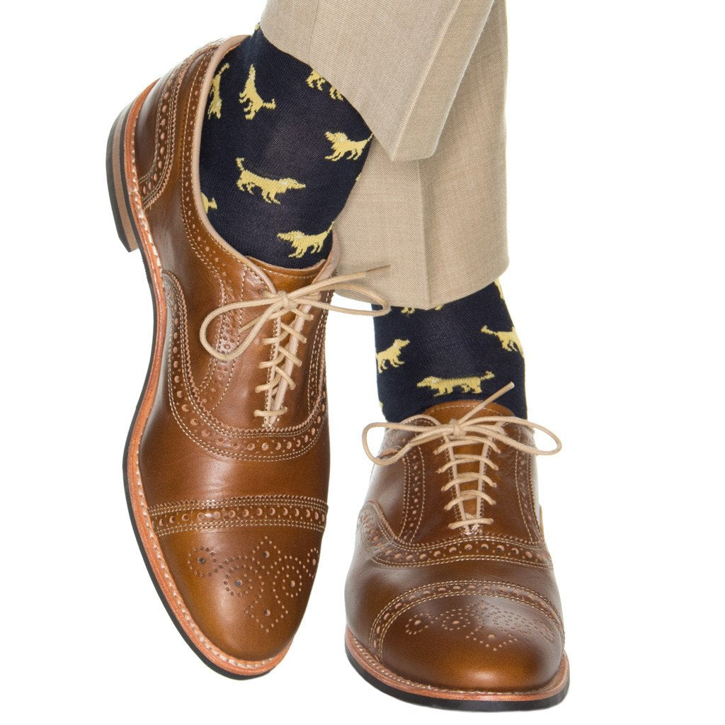 Navy with Yolk Dog Cotton Sock