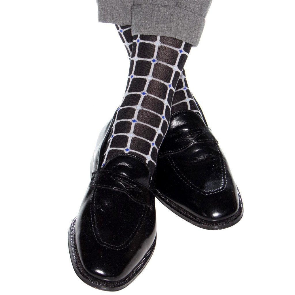 Black with Ash Grid Cotton Sock