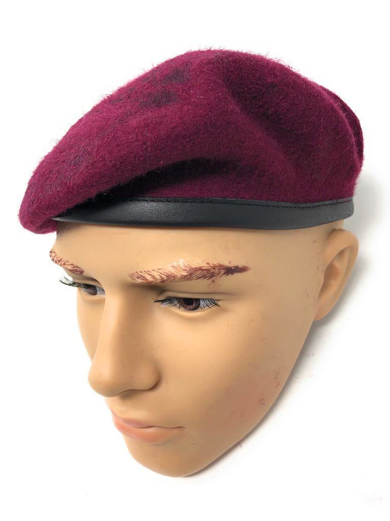 Maroon Paras Airborne Small Crown Silk Lined Beret