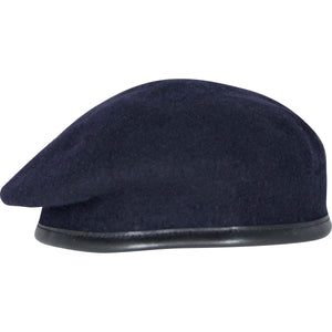 Silk Lined Military Navy Small Crown Beret - 100% Wool