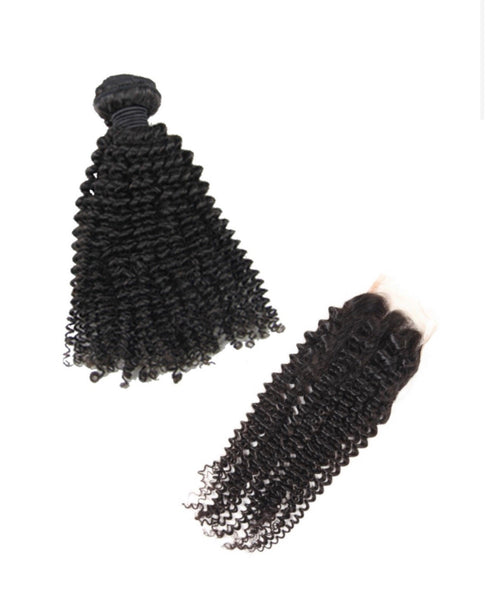 HD Kinky Curly Bundle Deal w/ Closure