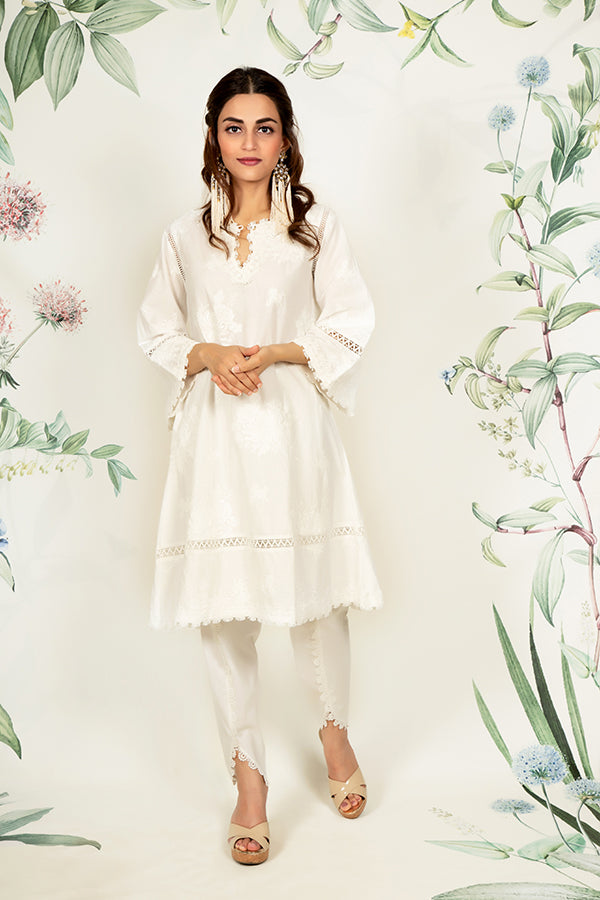 Mulmul Sunflower White Kurta with Dhoti