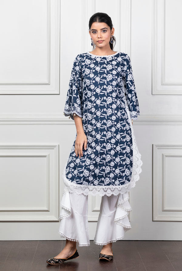 Mulmul Rosebud Navy Blue Kurta with Frill Bell-bottoms
