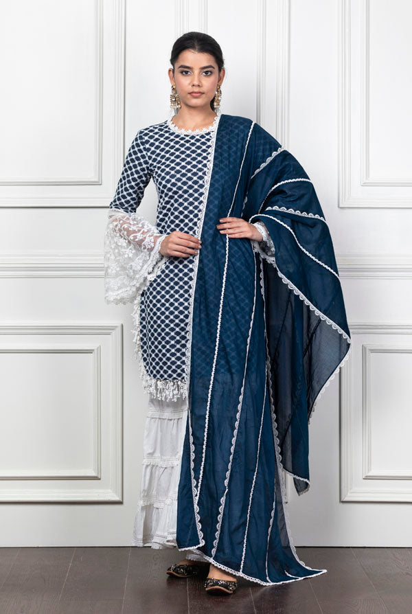 Mulmul Aspen Navy Blue Kurta with Garara