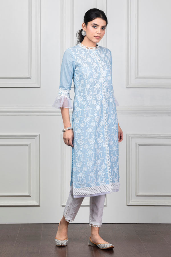 Mulmul Rose Light Blue Kurta with Slit Pants