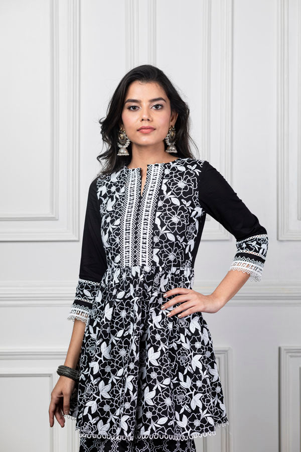Mulmul Magnolia Black Kurta with Embroidered Sharara