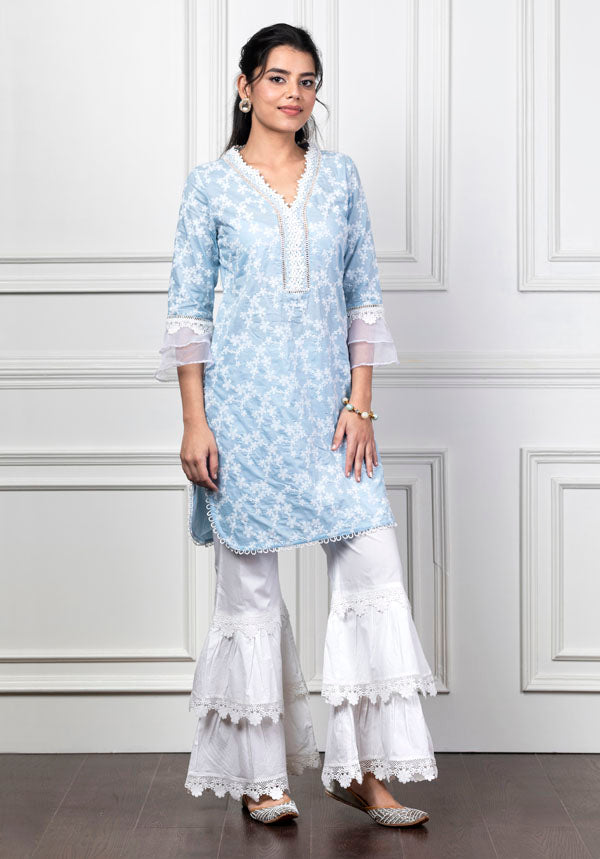Mulmul Daisy Light Blue Kurta with Lace Garara