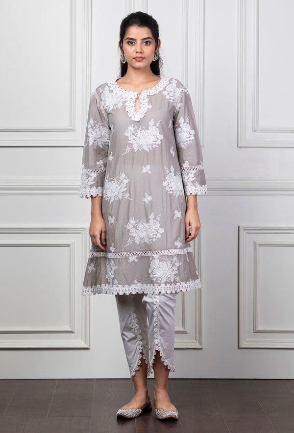 Mulmul Sunflower Grey Kurta with New Bellbottoms
