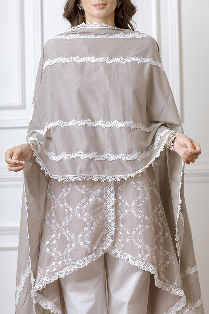 Mulmul Bella Grey Kurta with Harem Pants
