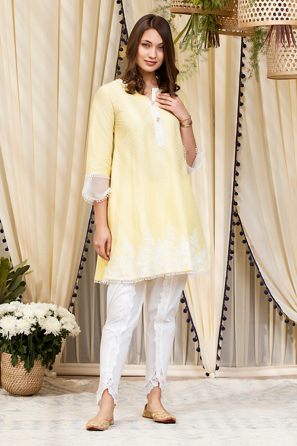Mulmul Cotton Clara Kurta With Net Dhoti