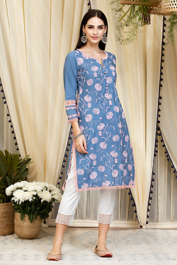 Mulmul Cotton Claudia Kurta Denim With Fern Cotton Pants