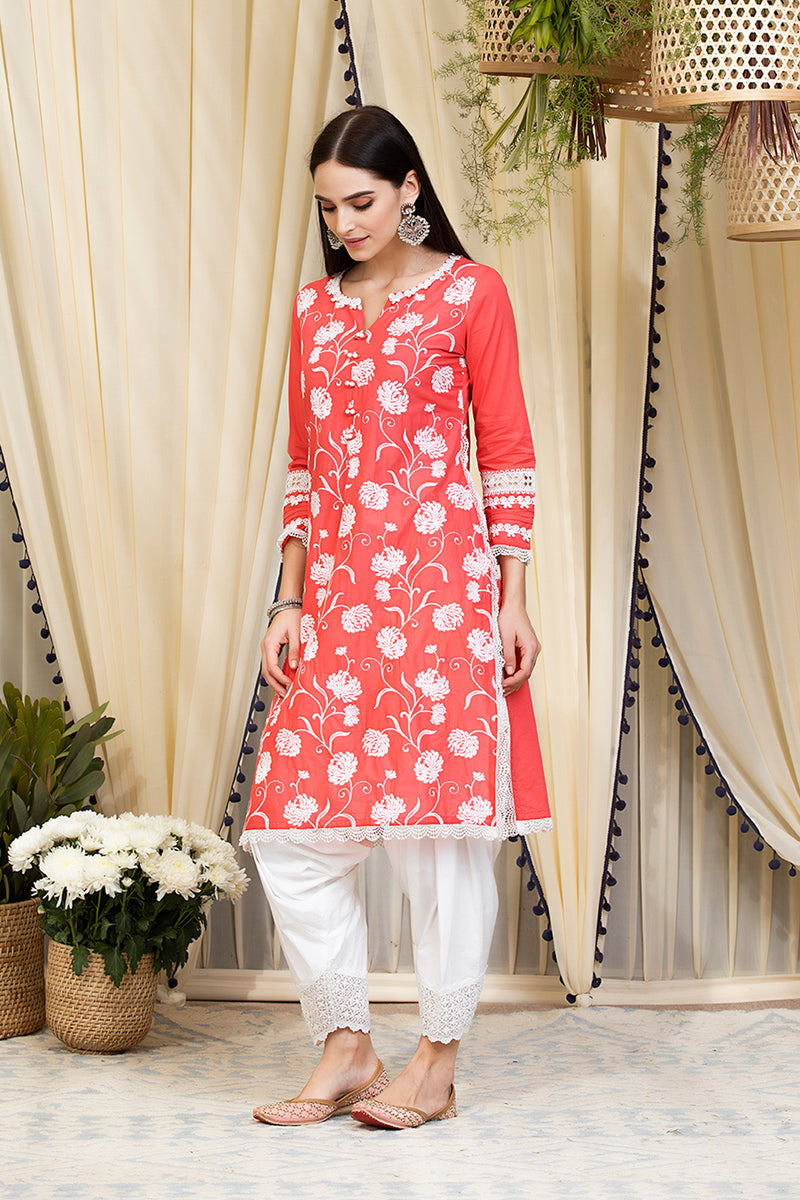 Mulmul Cotton Claudia Kurta  With Patiala