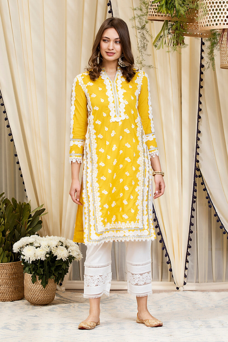 Mulmul Cotton Daniella Kurta With New Pint Tuck Pants