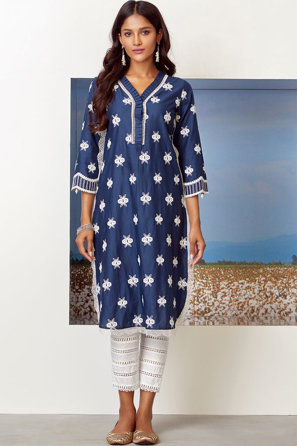 Mulmul Cotton DAWN KURTA With LADDER LACE PANT