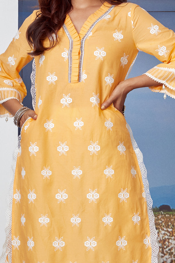 Mulmul Cotton DAWN KURTA With ROUNDED HEM PANT