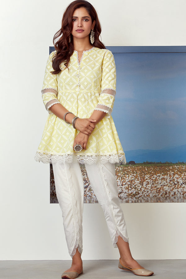 Mulmul Cotton Dew Drop Kurta With Scallop Dhoti
