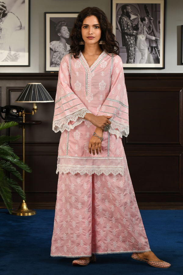 Mulmul Cotton FELICIA Kurta With FELICIA PALAZO