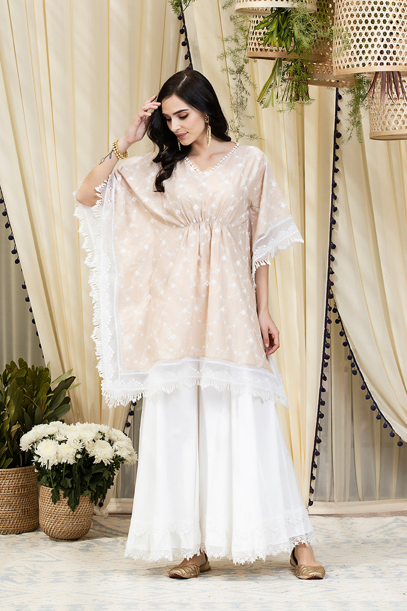 Mulmul Cotton Fiore Kurta With Blossom Sharara