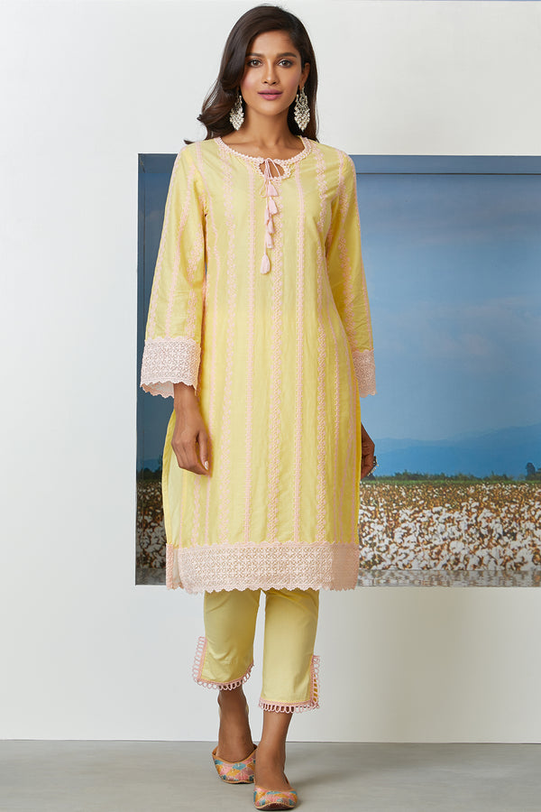 Mulmul Cotton Gianna Kurta  With Slit Pants
