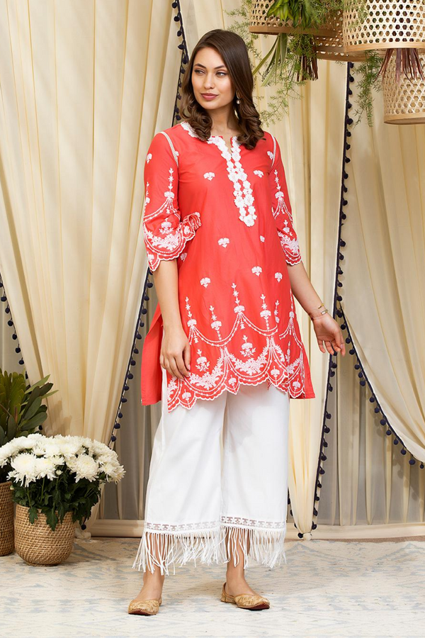 Mulmul Cotton Julia Kurta With New Poppy Pants